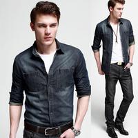 Spring Male Plus Size Jeans Shirt Hot Sale Slim Fit Casual Fashion Long Sleeve Pure Cotton Korean Design Dark Blue  Coat