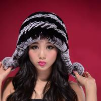 100% Real Rex Rabbit Fur Cap, Natural Rabbit Fur Hat* CPA Free Shipping, SU-14032