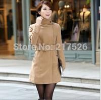 Autumn and winter women woolen overcoat fashion slim double breasted woolen outerwear female