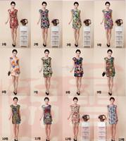 New 2014 Summer Fashion Sleeveless Dress Women's Floral Printed Slim Dress  Women Casual Dresses Plus Size Sexy