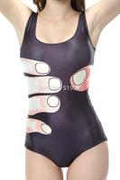 European and American Fashion  Printed  Swimsuit Cartoon Finger Pattern Black Skinny  One Piece Swimwear  High Quality YQ1073