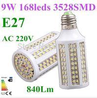 10pcs High quality E27 9W 840Lm 3528SMD 168 LED Corn light Bulb AC 220V Energy saving Cold/Warm white Home Garden Free Shipping