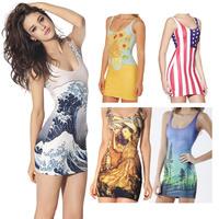 Hot 2014 Summer New Fashion Casual Print dress Sexy Slim Party dress Club Sheath Mini Vest Women Dress bilk milk casual dress