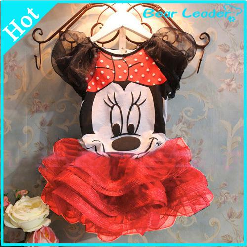 [ Bear Leader ]2015 Summer Vestidos New Children Girl's Dress Suit Cartoon Mouse Kids Clothing Sets Princess Girls Clothes(China (Mainland))