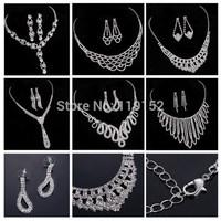 18 MIX Styles Fashion crystal Rhinestone Necklace Earring Jewelry Set,Rhinestone Wedding Jewelry Sets 2015 Choker Necklace newly