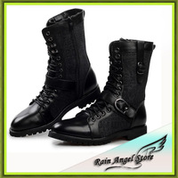 2014 New Fashion Leather Motorcycle Boots High Quality Side Zipper Winter Warm Breathable Leather botas masculinas