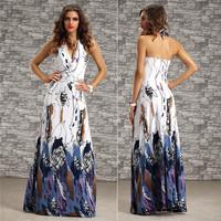 2014 New Summer Women Casual Print Maxi Dresses Halter Sexy Elegant Evening Party Dresses Vestidos De Festa Plus Size 4171