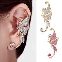 Gothic Punk Butterfly Ear Cuff Wrap Earring Pink/Gold Rhinestone SWA Element Crystal Ear Cuff  Women Earring 1Pcs Top Quality