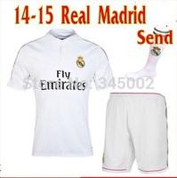Top quality 14-15 Real madrid Home white sportwear jersey Kits, 2015 Real madrid soccer shirt &short&sock RONALDO JAMES BALE