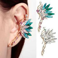 Butterfly Ear Cuff -Left Side Gold Multicolored/Clear Ear Clip Wrap Cuff Earrings SWA Element Crystal Earring 1pcs Woman Jewelry