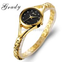 Free Shipping Grady New Arrival lady fashion wristwatch 3 ATM water resistant 18k Gold Plated women dress watch