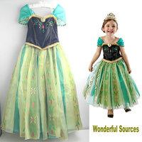 frozen dress kids anna coronation dress new Anna costumes children girl princess dress,girls green  party dresses frozen clothes