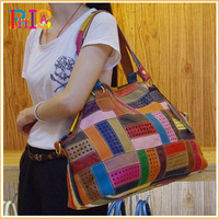 100% Genuine Leather Multi-Colored Patchwork Women Lady Fashion Shoulder Tote Bag Handbags