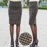 2015 New Born Autumn And Winter Skirts Womens Clothing Female Fashion Vintage Slim Hip Wool Plaid Knee-length Midi Pencil Skirt