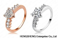 Hot Sale Fashion 18K Rose Gold/ Platinum Plate Hand Ring Genuine Swiss Ziron Heart Shape Ring RIC0005