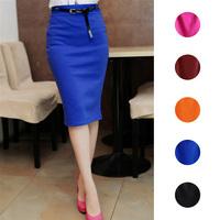 2014 Hot Sale Ladies Skirt OL Women Slim Fitted Knee Length High Waist Straight Career Pencil Skirt Plus Size XXXL Y50*E1421#S7