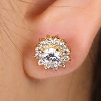 EJ-0176, Fashion hot popular Sun flower brass earring white 18k gold plating wholesale jewelry