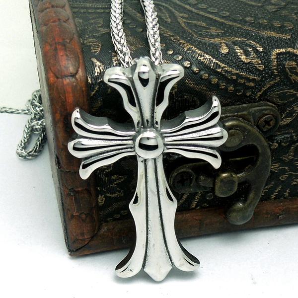VP050 titanium stainless steel punk chrome cross hearts necklaces pendants wholesale(China (Mainland))