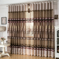 New arrival  window screen curtain  finished product luxury curtain for living room embroidered tulle +blackout curtain