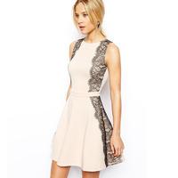 2014 NEW ARRIVAL HOT SALE!! Drop Shipping! Women Summer O-neck Sleeveless Eyelash Lace Knitting Patchwork Dress A-shaped Dress