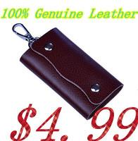 2014 Men New Key Cover Wallet!Men's 100% Genuine Leather Key Wallets!Man Car Housekeeper Holder !Men Short New Wallets Key Case!