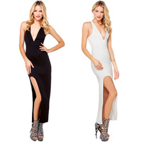 2014 NEW ARRIVAL HOT SALE!! DROP SHIPPING!!Women Summer Sexy Deep V-Collar Knitting Side Slit Elastic Back Straps-crossing Dress