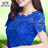 M-XXXXXL New 2014 Fashion Ladies Blouses Plus size Clothing Summer Women's Short-sleeve Shirts Tops Lace Female 7 Colors
