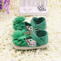 On Sale 2014 High Quality Best Price 0 -12 Month Summer Beautiful Green Flora Cotton Fabric Baby Girl Sandals Children Shoes
