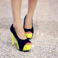 2014 summer women pumps free shipping 12cm thin heels peep toe party wedding shoes orange,red,yellow US size3-10 platform