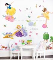 Cartoon Ballet Princess Wall Decals Wall Stickers For Kids Room Flower Wallpaper Tree Sticker Home Decoration Mural Nursery Art