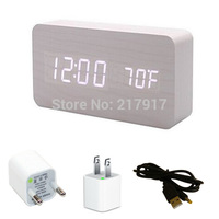 Double LED Display Wooden Alarm Clock White Cuboid Wood Table Clock with Thermometer with Adapter Drop shipping 12