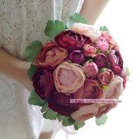 Boutonniere Hot Sale New 2014 Fashion Wedding Korean Bride Bouquet Hands Holding Flowers Bridal Simulation Flower Ball Brooch