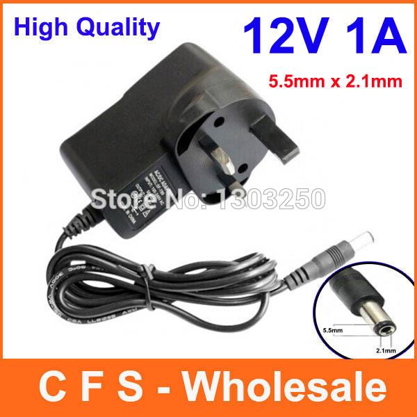 12V 1A DC UK Plug Power Supply Adaptor Transformer for LED Strips CCTV 5.5mm x 2.1mm Express Free shipping wholesale 100pcs(China (Mainland))