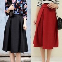 New Women Fashion European High Waist Put On A Large Umbrella Skirt Retro Style Four Season All-Match Elegance Long Skirt 3332