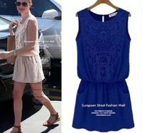 2014 summer new American style fashion sexy sleeveless short women dress crochet lace vintage tunic loose casual vestido J8015