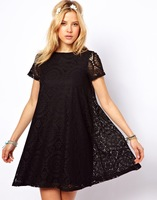 Lace Cute Fashion O-Neck Short sleeve Loose A-line hollow-out with Big size  fashion Casual summer Dress for Girls Women wang001