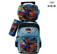 3 Bags in 1 Spider Man Children Trolley School Bag KIT Boys Kids Trolley Luggage Set Children Travel Bag on Wheels FreeShip
