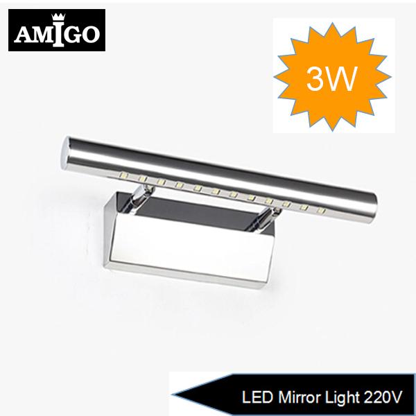 Freeshipping 3W Bathroom LED Mirror Light AC220V SMD5050 Mini Style Warm White/Cool White LED Wall Lamps(China (Mainland))