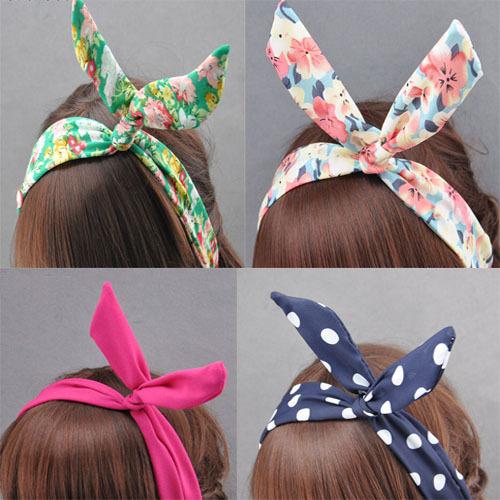 w silk rabbit ear multi color option Hairband tie hair hoop tools Maker band forehead hair decoration head whcn+(China (Mainland))