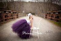 2014 New Elegant Girl Party Dress Ivory Stain Purple Train Tulle Flower Girl Dress Girl Evening Dress Photography Customize