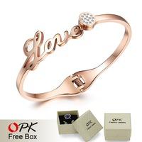 OPK JEWELRY Free Box! Korean Full Crystal LOVE letters Bracelet Bangles for Women Stainless Steel 2 Colors , 699