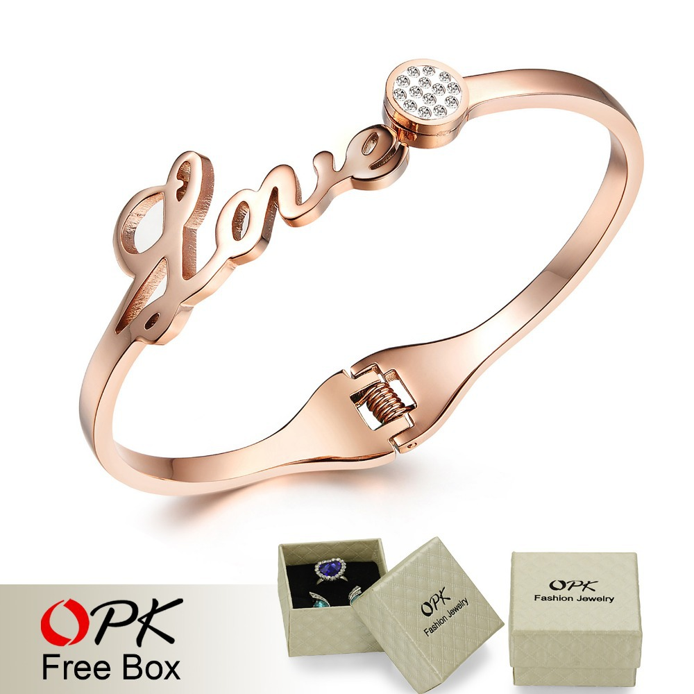 OPK JEWELRY Free Box! Korean Full Crystal LOVE letters Bracelet Bangles for Women Stainless Steel 2 Colors , 699(China (Mainland))