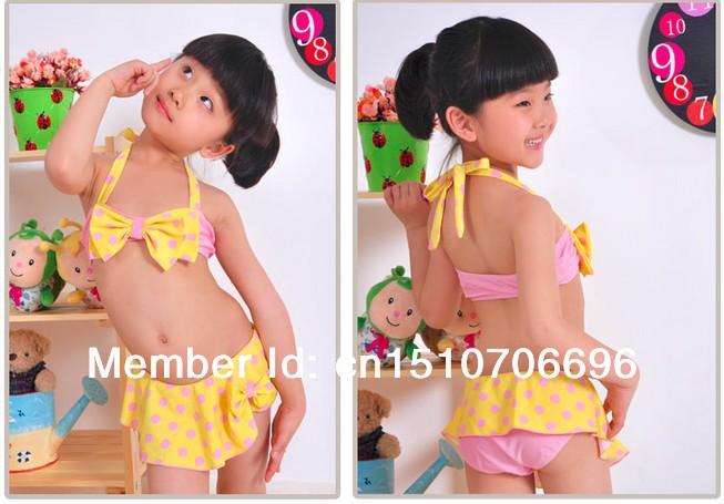 Девочки милый узор в горошек купальник бикини купальный костюм для дети купальный костюм дети