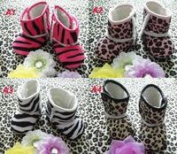2014 New Baby Leopard Cotton Snow Boots Infant Zebra Winter Shoes First walkers Kids Crib Prewalker Shoes 0/18M 6Pairs/lot