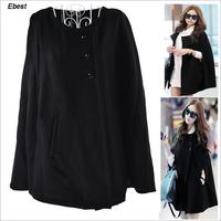 women clothes winter coat girl jactets black batwing sleeve single breasted black veste femme gilet manteau fashion cheap big