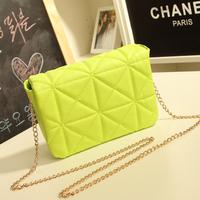 2014 Women Vintage Candy Color Chain Handbag!Women Shoulder Cross-body Neon Yellow Clutch!Women Fashion Messenger Handbag Bags