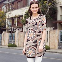 New 2014 Summer Plus Size Quality Chiffon Blouses/Shirts for Women, European & American Streetwear Vintage Print  5XL Tops F1