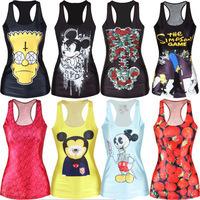 New Arrival 2014 Tank top Women t shirt  Crop top Cartoon Camisole Fashion Vest Women Clothing tops