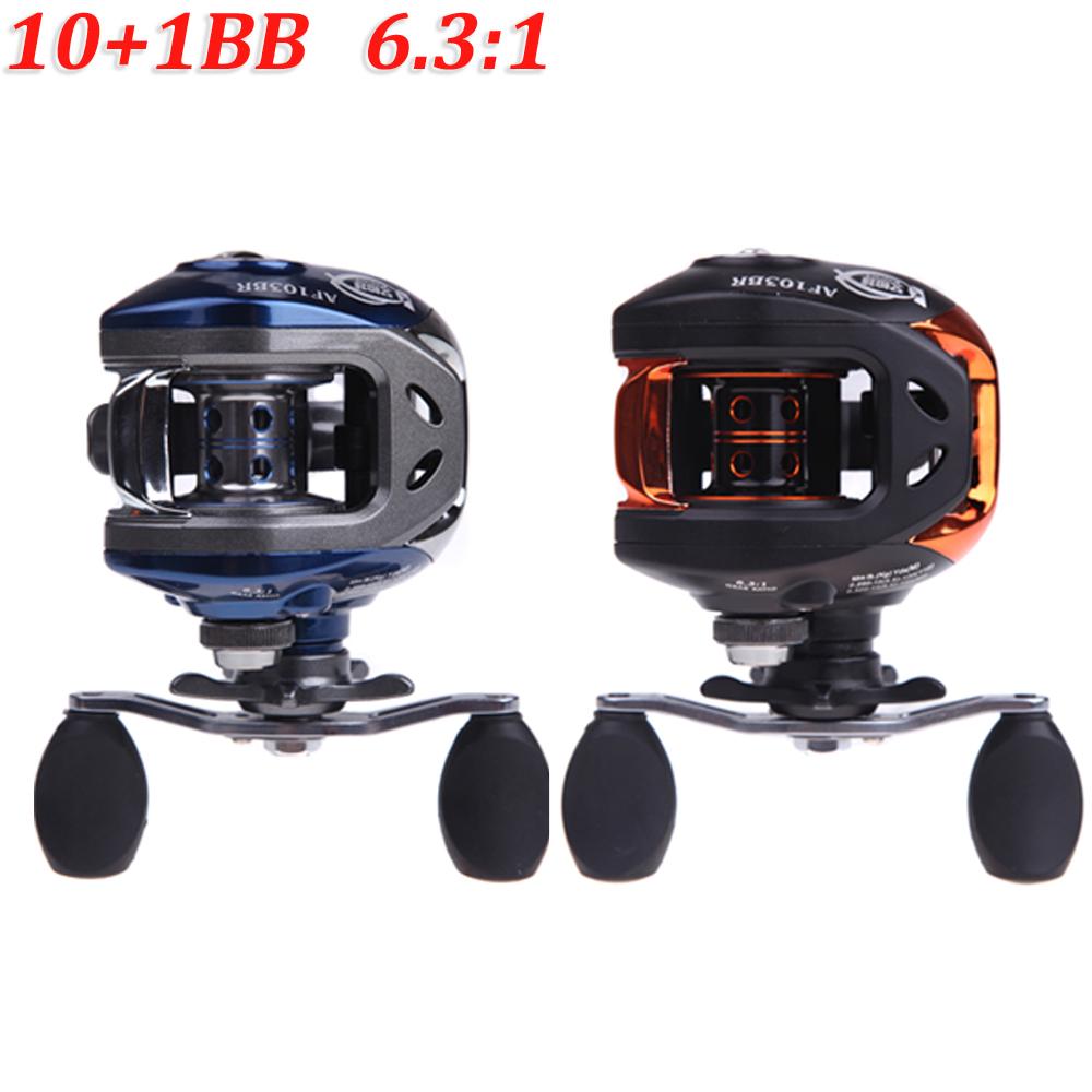 NEW 10+1BB Ball Bearings Right Hand Baitcasting Carp Fishing Reel High Speed 6.3:1 Pesca Blue/Black AF103(China (Mainland))