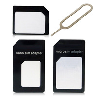 High Quality  Nano Sim Card Adapters + Micro Sim + Stander Sim Card SIM Card & Tools For Iphone 4 / 4S/ 5 With Retail Box  P021